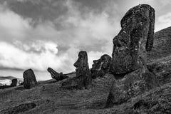 在复活节岛的Moais 免版税库存图片