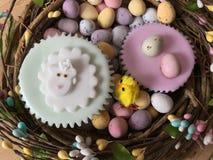在复活节花圈的复活节主题的被冰的海绵杯形蛋糕 库存照片