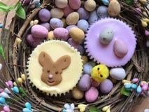 在复活节花圈的复活节主题的被冰的海绵杯形蛋糕 免版税库存照片
