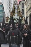 在复活节队伍的Cofrades在巴里阿多里德,西班牙 库存图片