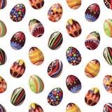 在复活节题材朱古力蛋的传染媒介无缝的样式 库存例证