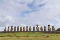 在复活节岛的Ahu Tongariki 免版税库存照片