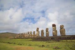 在复活节岛的Ahu Tongariki 免版税库存图片