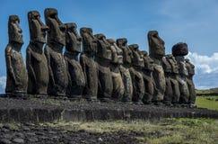 在复活节岛,智利上的Moai 免版税库存图片