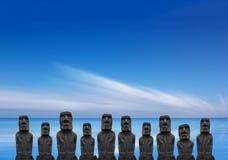 在复活节岛,智利的Moai 免版税图库摄影