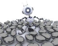 在复活节彩蛋的机器人 免版税库存图片