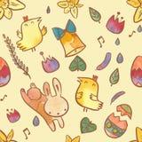 在复活节题材的水彩无缝的样式 与兔宝宝、小鸡、鸡蛋和花的复活节背景 库存图片