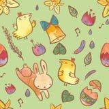在复活节题材的水彩无缝的样式 与兔宝宝、小鸡、鸡蛋和花的复活节背景 免版税图库摄影
