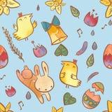 在复活节题材的水彩无缝的样式 与兔宝宝、小鸡、鸡蛋和花的复活节背景 免版税库存图片