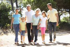在夏天一起乡下步行的三一代家庭 免版税库存照片