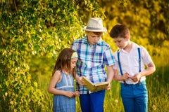 在夏天一起读的三个孩子 兄弟顶头纵向射击姐妹微笑诉讼 免版税库存照片