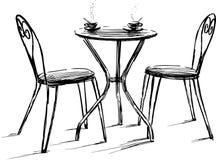 在夏天咖啡馆的家具 免版税库存照片