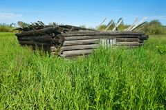 在夏天在象草的被放弃的原木小屋归档的 库存照片