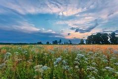 在夏天域的日落 免版税库存照片