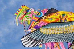 在夏天天空的风筝行 图库摄影