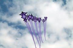 在夏天天空的紫色风筝 免版税库存照片