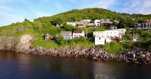 在夏天日落期间的美丽的狭窄港口,纽芬兰,加拿大 股票视频