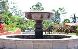 在夏天期间,一点喷泉在密林的一家豪华旅游胜地旅馆在哥斯达黎加 库存图片