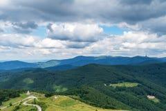 在夏天期间,在山的美好的自然背景 免版税库存照片