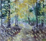 在夏天森林里,油画 库存图片