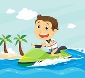在夏天海滩的愉快的小男孩骑马喷气机滑雪 皇族释放例证
