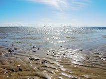在夏天海滩的沙波纹理 库存照片