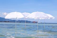 在夏天热带海滩的白色伞 免版税库存图片