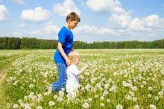 在夏天草甸的两个儿童男孩戏剧 免版税库存图片