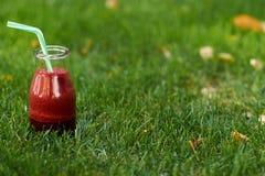 在夏天草的健康红色戒毒所饮料 库存照片