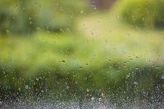 在夏天雨以后的窗口有绿色庭院背景 库存照片