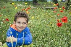 在夏天,公园是一个小男孩在花床上 免版税图库摄影