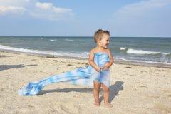 在夏天,在海滩,在岸,有小的,滑稽, 库存图片