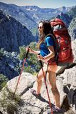 在夏天,您能散步与在峡谷的一个背包 免版税图库摄影