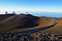 在夏威夷的大岛的冒纳凯阿火山望远镜 免版税图库摄影