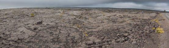 在夏威夷的大岛的浩大的熔岩流 库存照片