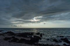 在夏威夷的大岛的美好的日落 图库摄影