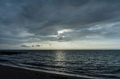 在夏威夷的大岛的美好的日落 免版税图库摄影