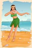 在夏威夷礼服的减速火箭的妇女跳舞 免版税库存图片