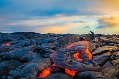 在夏威夷` s大岛的熔岩 图库摄影
