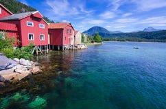 在夏季的美好的挪威风景 免版税库存照片