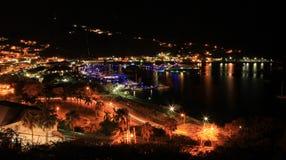 在夏洛特Amalie圣托马斯的夜视图 库存图片
