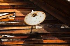 在外墙上的生锈的轻的树荫 图库摄影