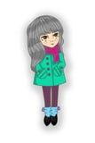 在外套和围巾,松紧鞋的女孩长的头发 免版税库存图片