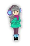 在外套和围巾,松紧鞋耳机御寒耳罩的女孩长的头发 免版税库存图片