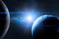 在外层空间的地球与美丽的行星 蓝色日出 免版税库存图片