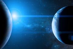 在外层空间的地球与美丽的行星 免版税库存照片
