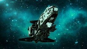 在外层空间,在宇宙的肮脏的航天器飞行的老外籍人太空飞船与星在背景,飞碟底视图, 3D中回报 皇族释放例证