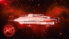 在外层空间,飞碟航天器飞行在宇宙与行星和星的外籍人太空飞船在背景,侧视图, 3D中回报 向量例证