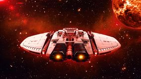 在外层空间,飞碟航天器飞行在宇宙与行星和星的外籍人太空飞船在背景,后面图, 3D中回报 库存例证