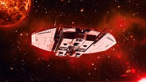 在外层空间,飞碟航天器飞行在宇宙与行星和星的外籍人太空飞船在背景,底视图, 3D中回报 皇族释放例证